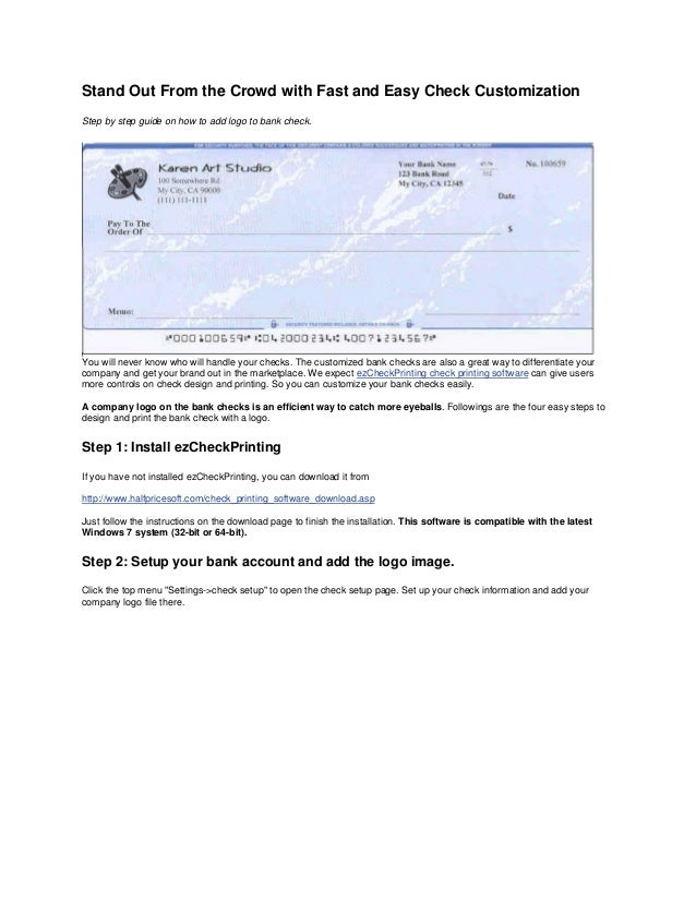 How to Print Your Bank Checks at $0 Cost