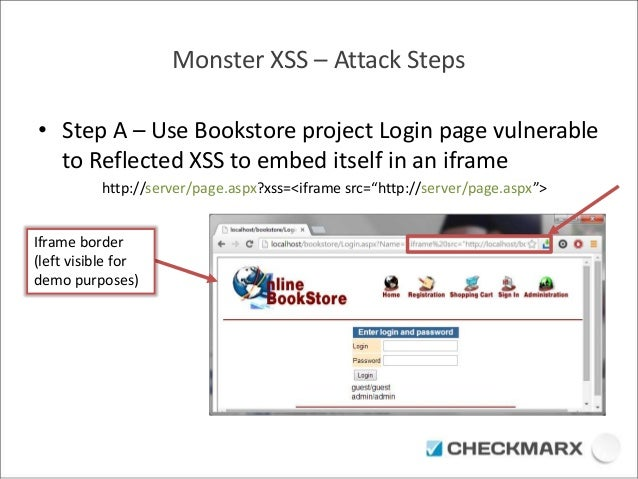 Monster XSS – Attack Steps  • Step A – Use Bookstore project Login page vulnerable  to Reflected XSS to embed itself in an...