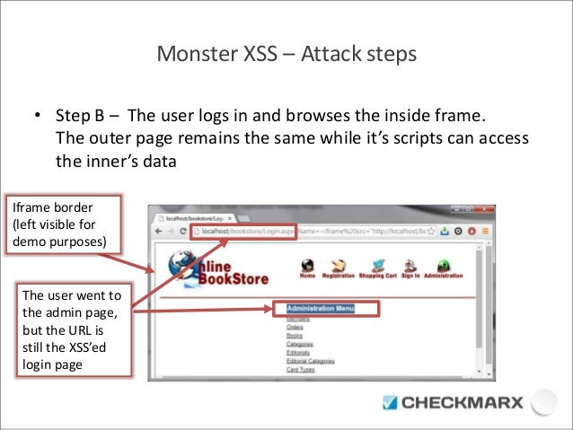 Monster XSS – Attack steps  • Step B – The user logs in and browses the inside frame.  The outer page remains the same whi...