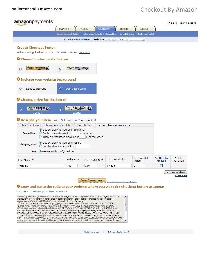 sellercentral.amazon.com Checkout By Amazon