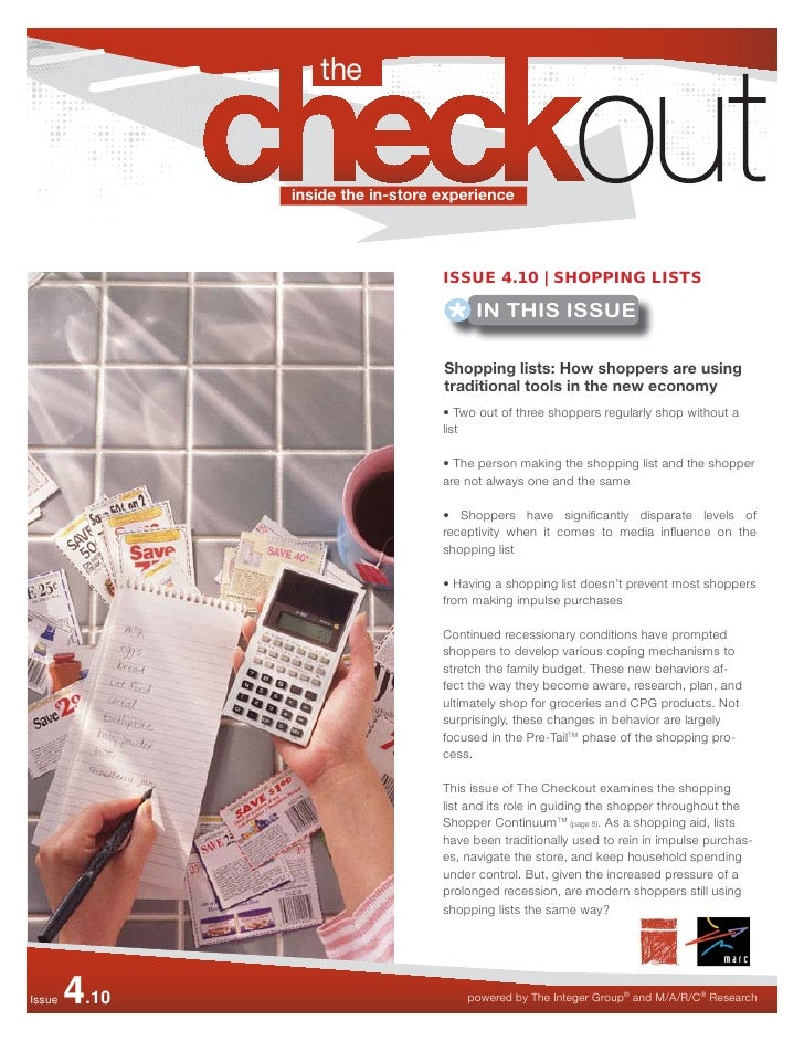 inside the in-store experience                                        ISSUE 4.10 | SHOPPING LISTS                         ...