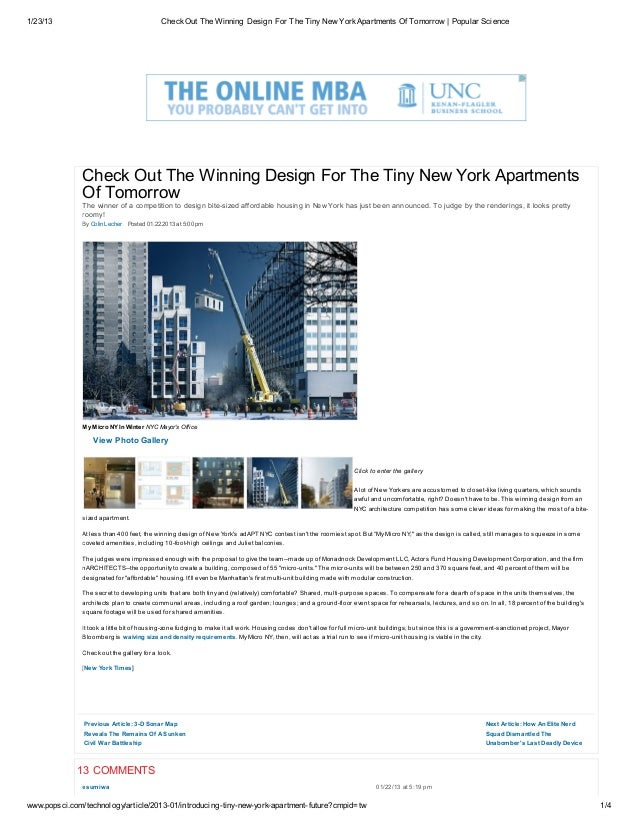 1/23/13                                      Check Out The Winning Design For The Tiny New York Apartments Of Tomorrow | P...