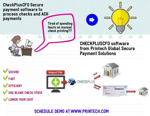 CheckPlusCFO Secure payment software to process checks and ACH payments Tired of spending hours on manual check printing??...