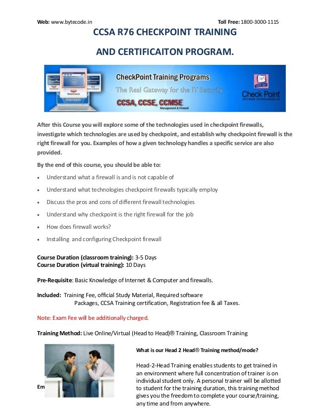 Checkpoint ccsa r76 Training and Certification Course