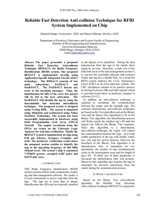 ICSE 2008 Proc. 2008, Johor, Malaysia Reliable Fast Detection Anti-collision Technique for RFID System Implemented on Chip...