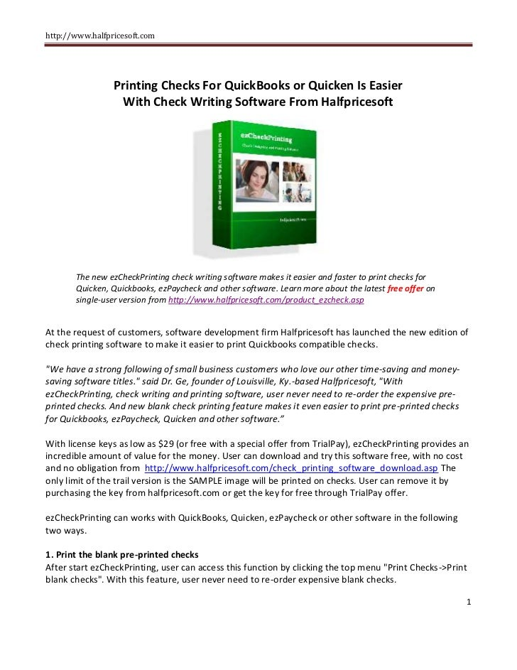 picture relating to Printable Checks for Quickbooks identify Printing Exams For QuickBooks or Quicken Is Less complicated With
