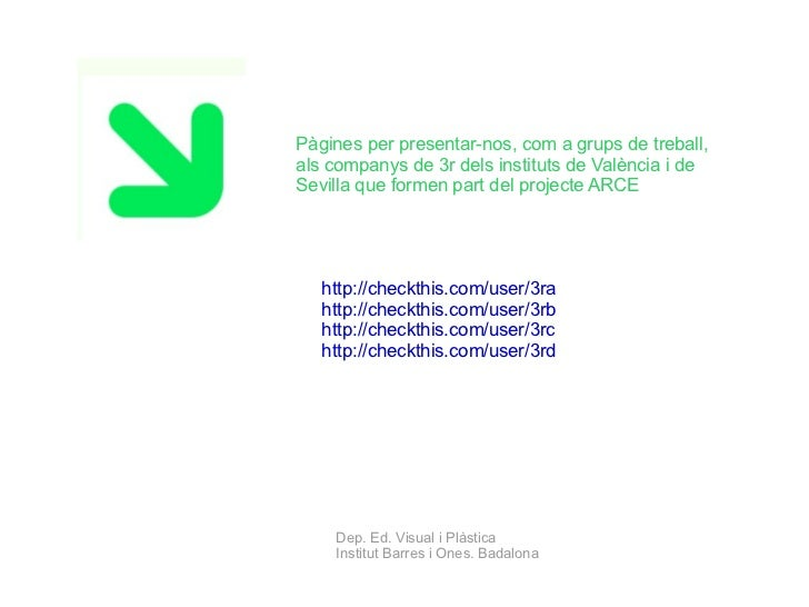 Pàgines per presentar-nos, com a grups de treball, als companys de 3r dels instituts de València i de Sevilla que formen p...