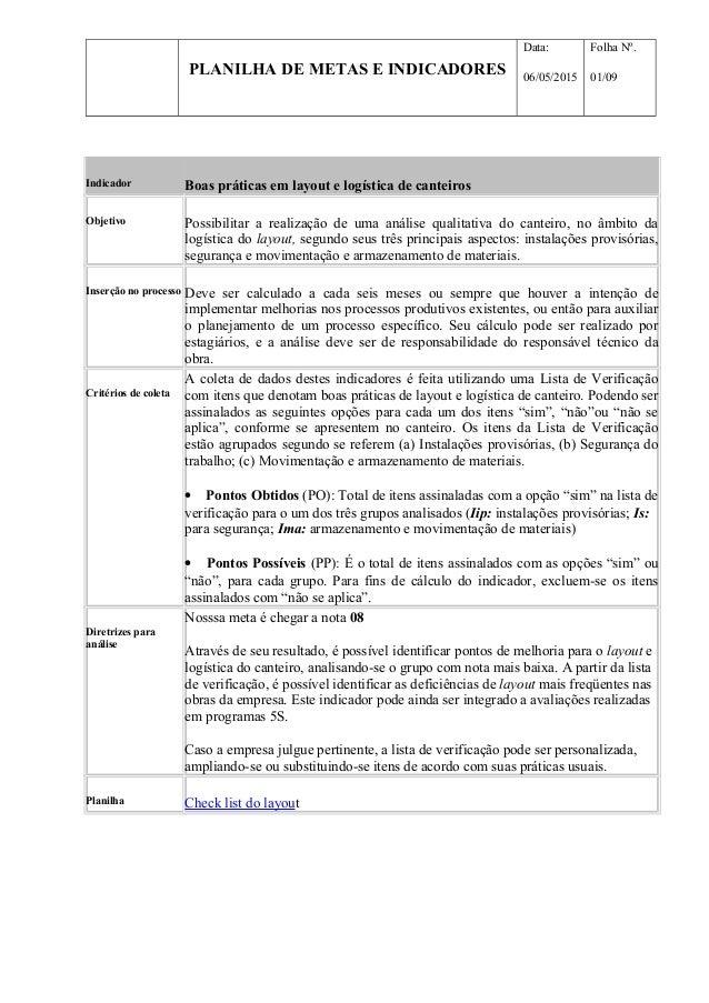 PLANILHA DE METAS E INDICADORES Data: 06/05/2015 Folha Nº. 01/09 Indicador Boas práticas em layout e logística de canteiro...