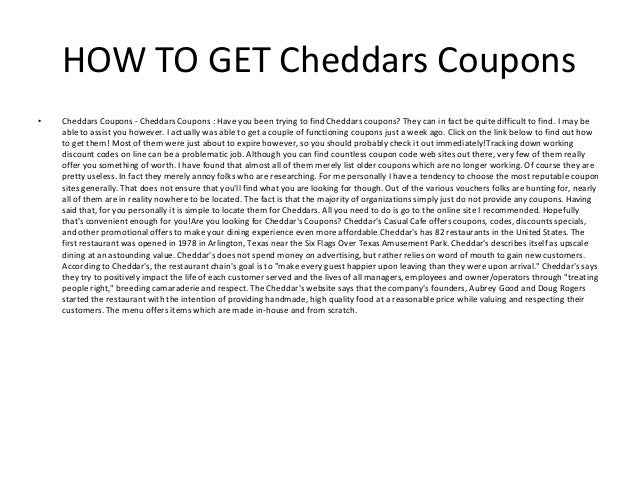 picture about Cheddars Printable Coupons named Cheddars Discount codes - Printable Cheddars Discount coupons