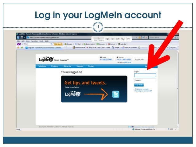 Log in your LogMeIn account 1