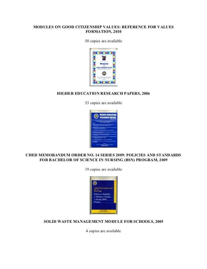 Ched memorandum order no 112 series of 2005