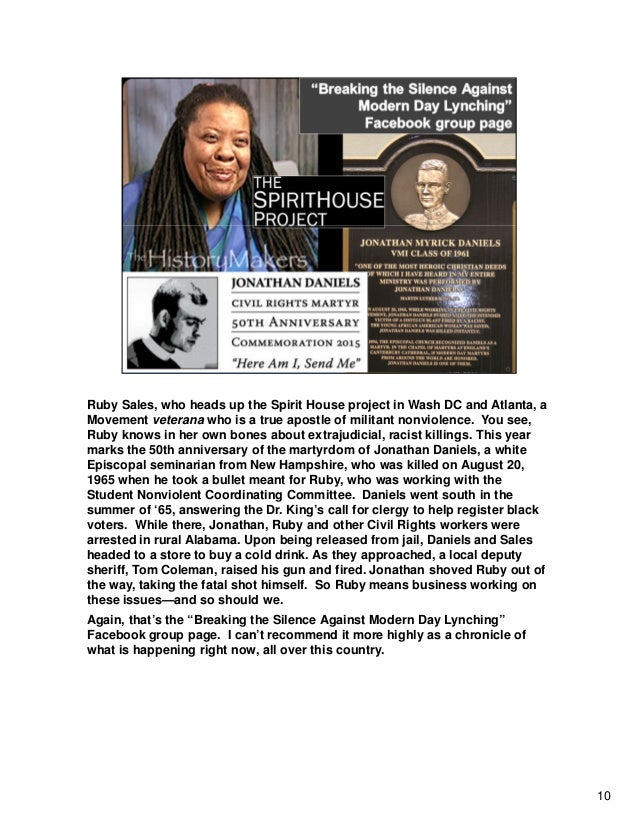 Ruby Sales, who heads up the Spirit House project in Wash DC and Atlanta, a Movement veterana who is a true apostle of mil...