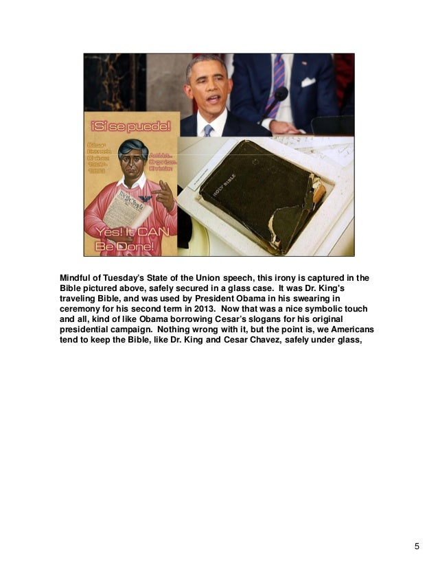Mindful of Tuesday's State of the Union speech, this irony is captured in the Bible pictured above, safely secured in a gl...