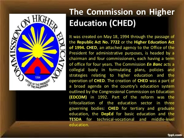 The Commission on Higher Education (CHED) It was created on May 18, 1994 through the passage of the Republic Act No. 7722 ...