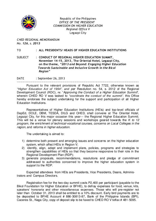 Republic of the Philippines OFFICE OF THE PRESIDENT COMMISSION ON HIGHER EDUCATION Regional Office V Legazpi City CHED REG...