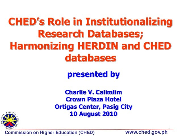 CHED's Role in Institutionalizing Research Databases; Harmonizing HERDIN and CHED databases presented by Charlie V. Caliml...