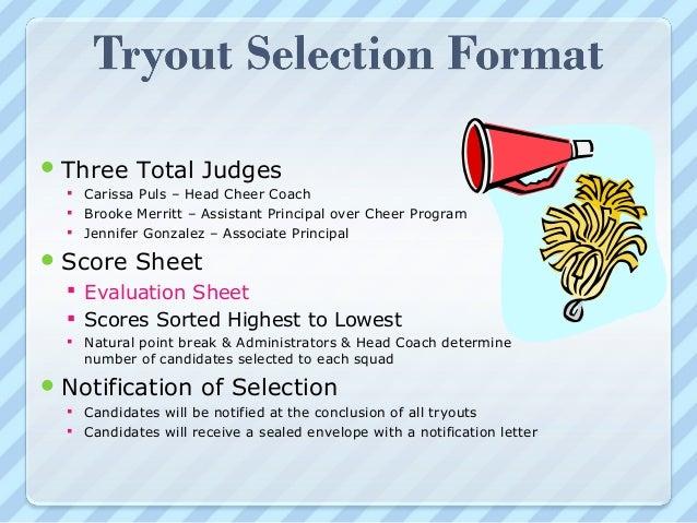 Cheerleader Tryout Score Sheet