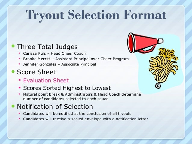Cheer parent mtg2013 – Cheerleading Tryout Score Sheet