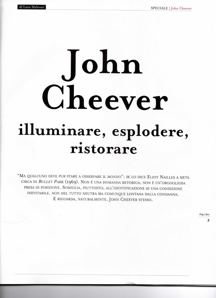 d i Luca Malavasi                                                                               SPECIALE   John Cheever   ...
