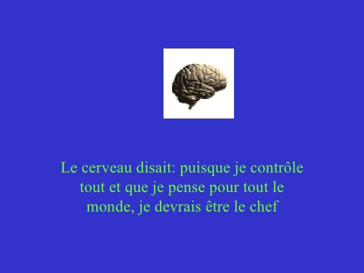 Le cerveau disait:puisque je contrôle tout et que je pense pour tout le monde, je devrais être le chef