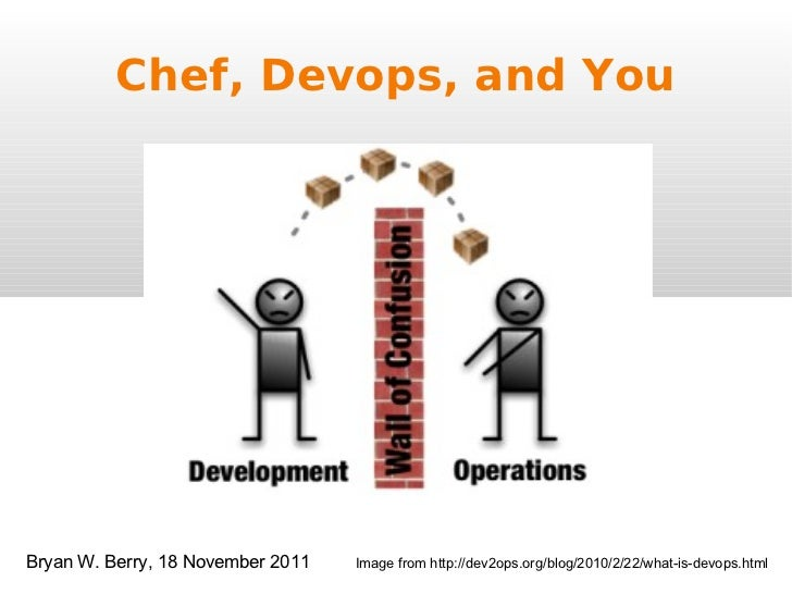 Chef, Devops, and You Image from http://dev2ops.org/blog/2010/2/22/what-is-devops.html Bryan W. Berry, 18 November 2011