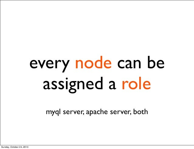 every node can be assigned a role myql server, apache server, both Sunday, October 24, 2010