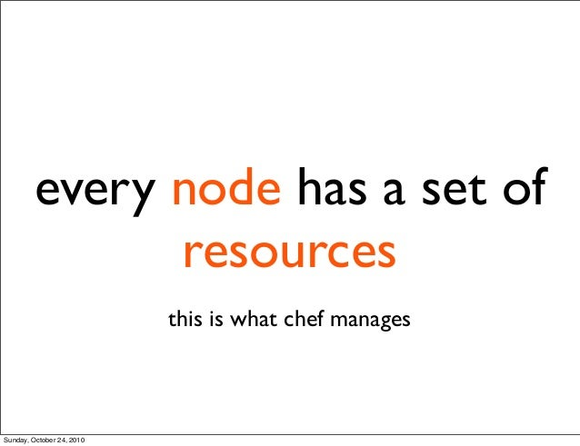 this is what chef manages every node has a set of resources Sunday, October 24, 2010