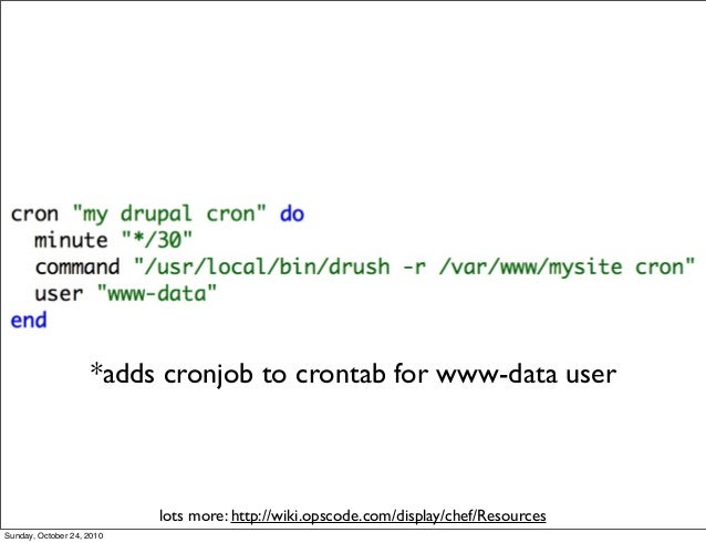 lots more: http://wiki.opscode.com/display/chef/Resources *adds cronjob to crontab for www-data user Sunday, October 24, 2...