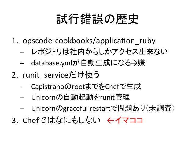 試行錯誤の歴史1. opscode-‐cookbooks/applicaKon_ruby – レポジトリは社内からしかアクセス出来ない – database.ymlが自動生成になる→嫌 2. runit_serviceだ...