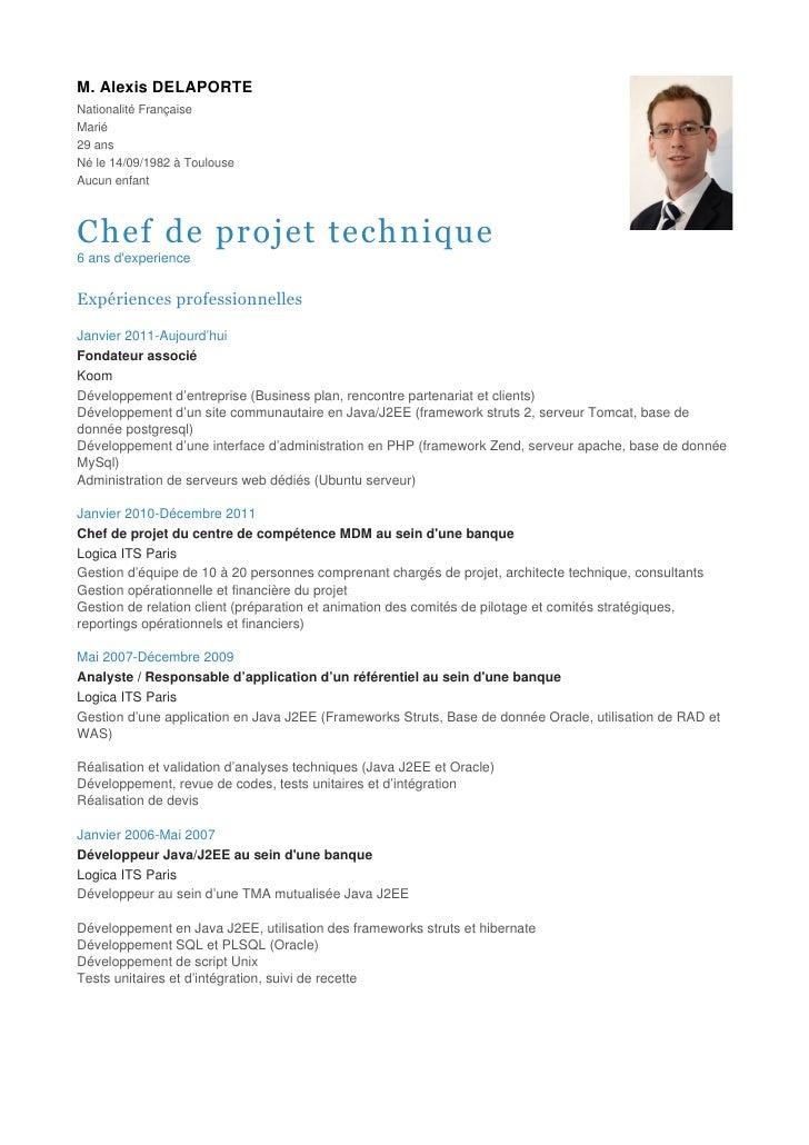 exemple de cv chef de projet CV   Chef de projet technique exemple de cv chef de projet