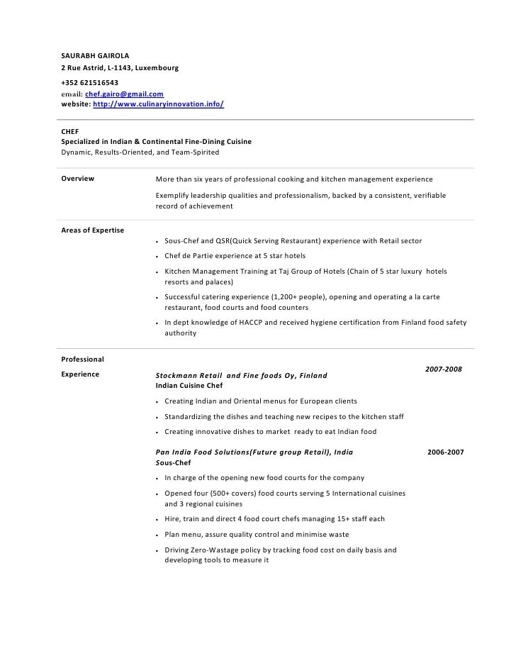 Indian Chef Sample Resume