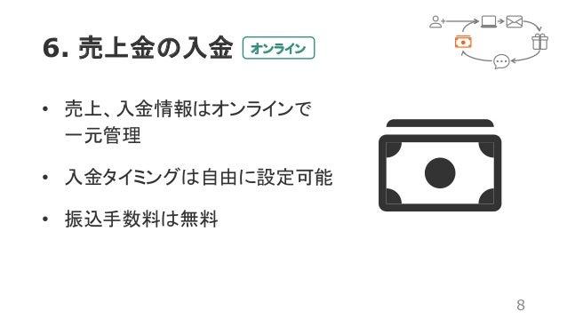 6. 売上金の入金 8 • 売上、入金情報はオンラインで 一元管理 • 入金タイミングは自由に設定可能 • 振込手数料は無料 オンライン