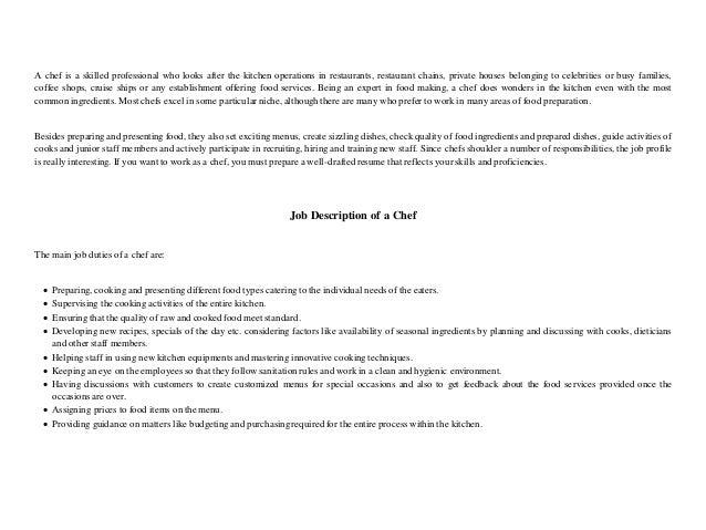 Chef resume Best of Sample Resume