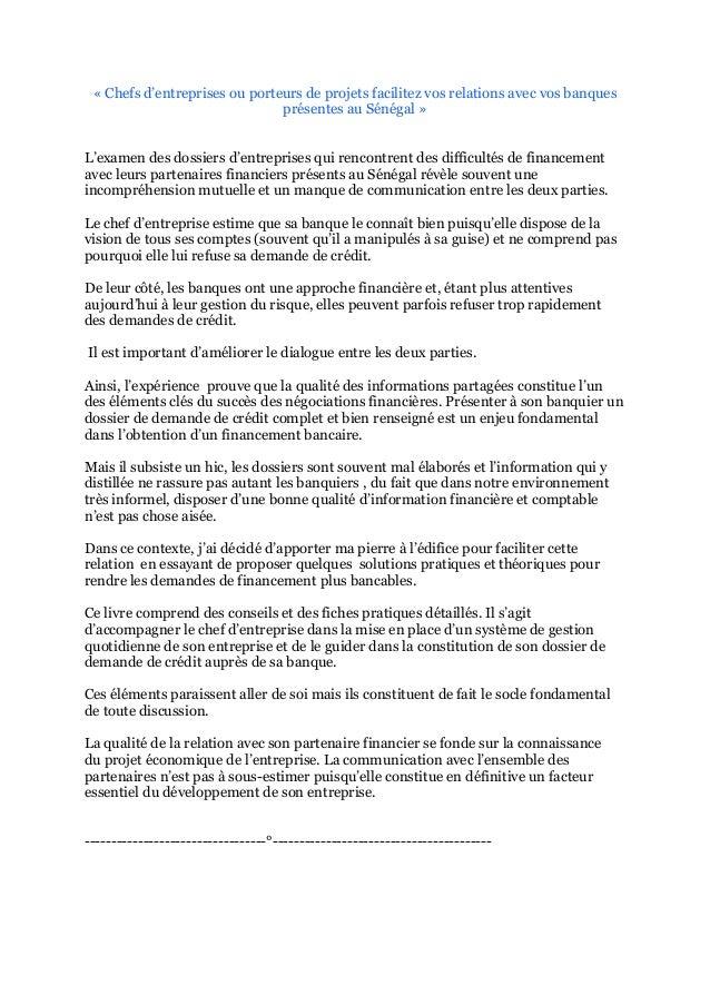 « Chefs d'entreprises ou porteurs de projets facilitez vos relations avec vos banques présentes au Sénégal » L'examen des ...