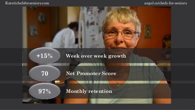 angel.co/chefs-for-seniorsKate@chefsforseniors.com 70 Net Promoter Score +15% Week over week growth 97% Monthly retention