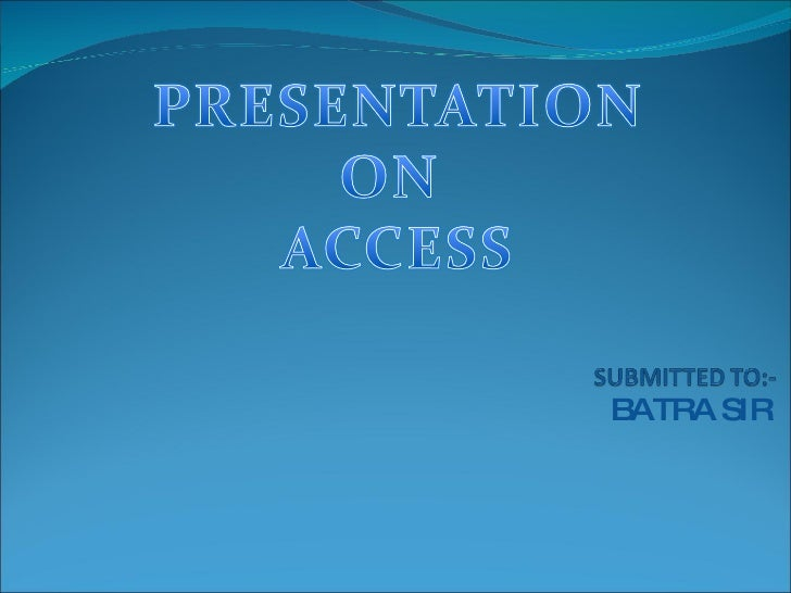 Ms Access Ppt