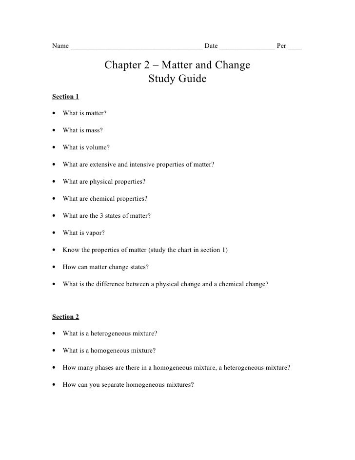 Name ______________________________________ Date ________________ Per ____                    Chapter 2 – Matter and Chang...
