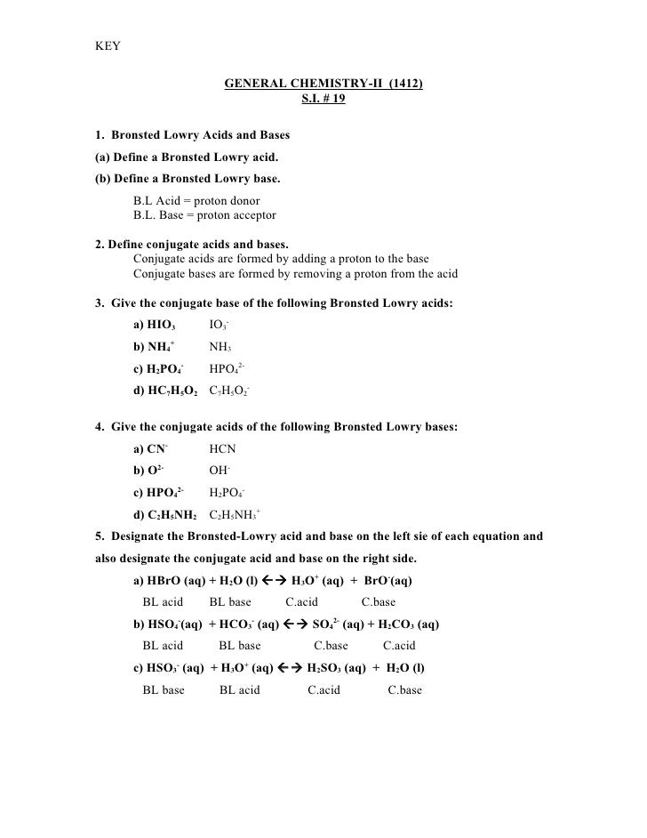 19 Key – Bronsted-lowry Acids and Bases Worksheet