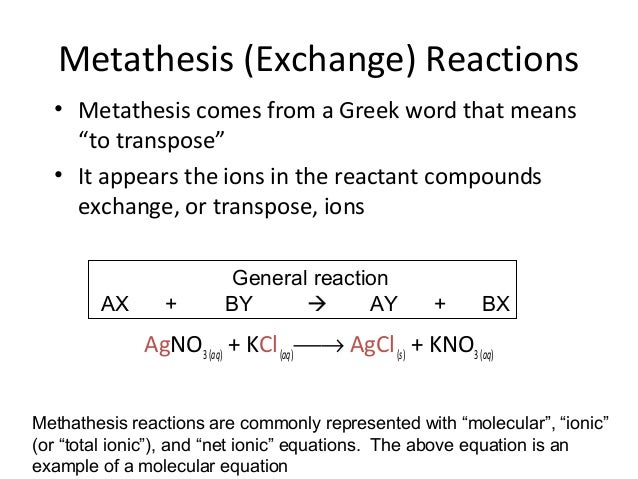 metathesis salts Start studying chem final: chapter 4 quiz learn vocabulary, terms, and more with (metathesis) reaction lead nitrate which of the following is soluble with which of the following will the ammonium ion form an insoluble salt none of the above ( the other options are: chloride.