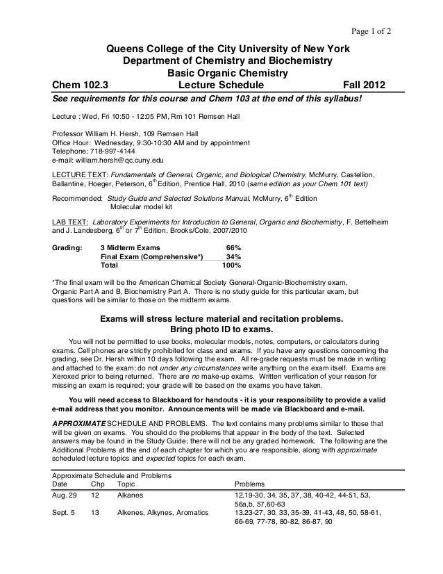 Page 1 of 2 Queens College of the City University of New York Department of Chemistry and Biochemistry Basic Organic Chemi...