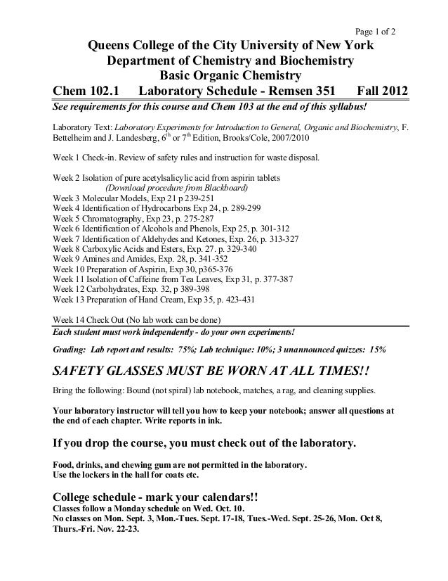 Chem 102 lecture and lab syllabus queens college f 2012