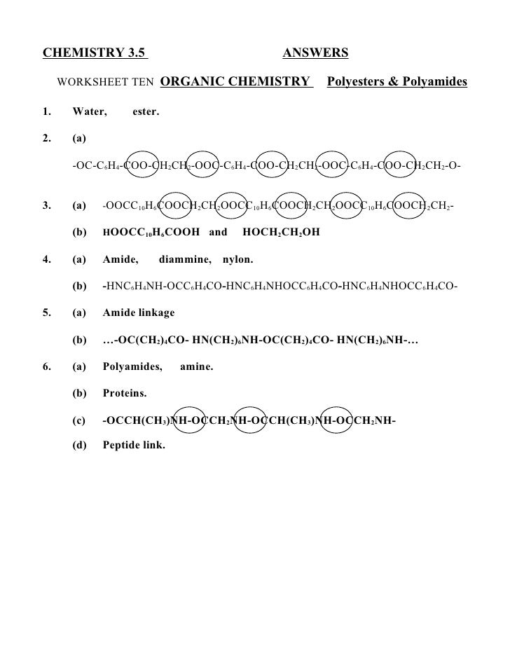 Chem 35 answers 10 – Organic Chemistry Worksheet