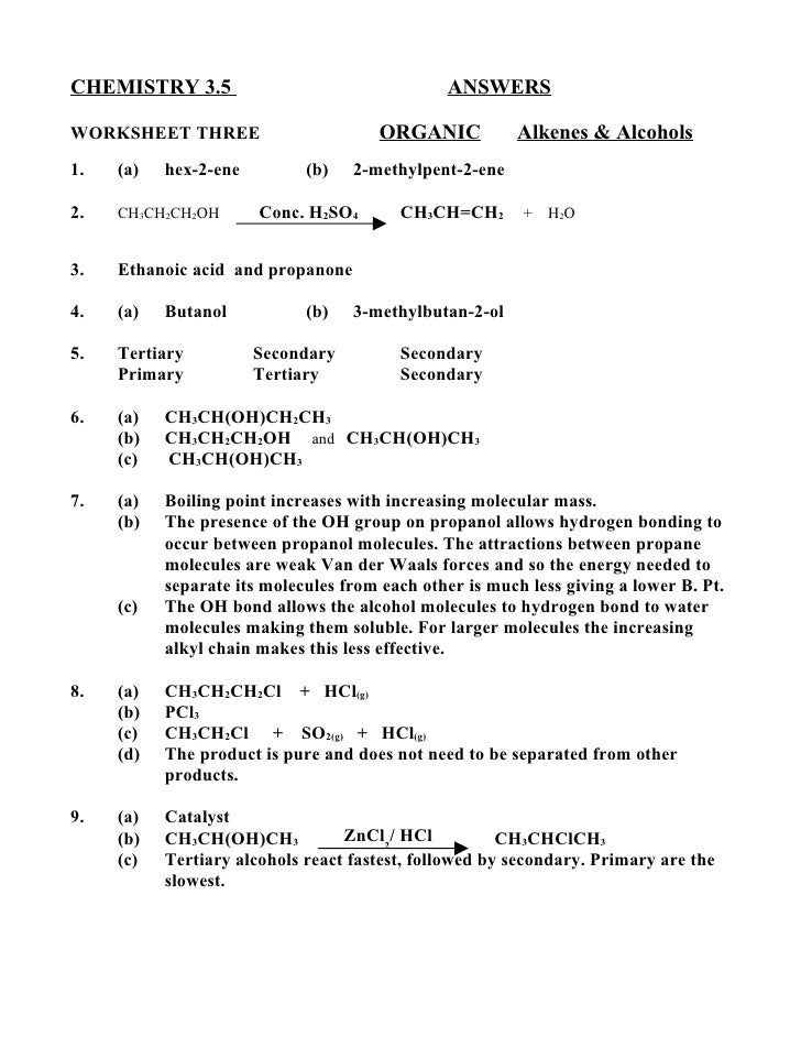 CHEMISTRY 3.5                                  ANSWERSWORKSHEET THREE                        ORGANIC          Alkenes & Al...