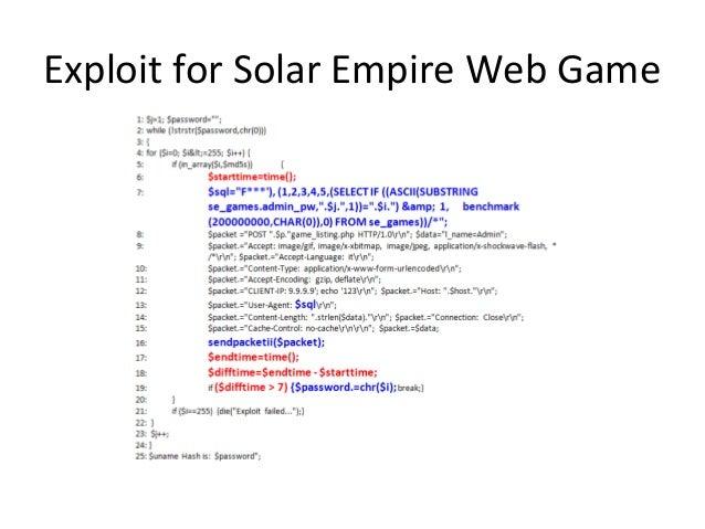 Exploit for Solar Empire Web Game