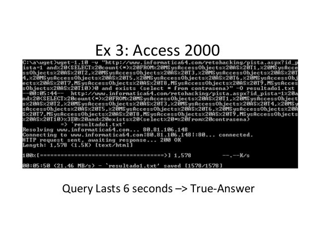 Ex 3: Access 2000 Query Lasts 6 seconds –> True-Answer