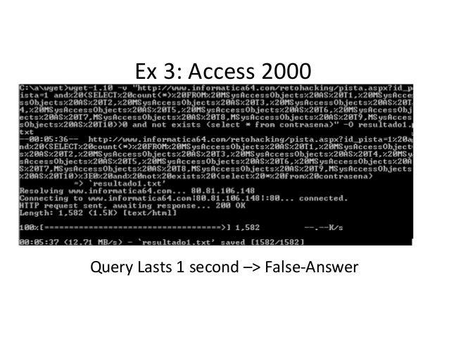 Ex 3: Access 2000 Query Lasts 1 second –> False-Answer