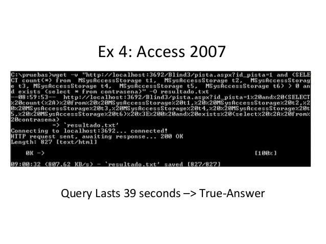 Ex 4: Access 2007 Query Lasts 39 seconds –> True-Answer