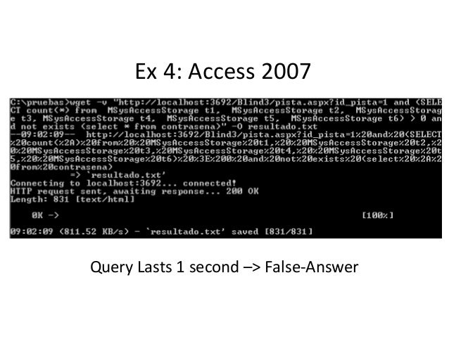 Ex 4: Access 2007 Query Lasts 1 second –> False-Answer