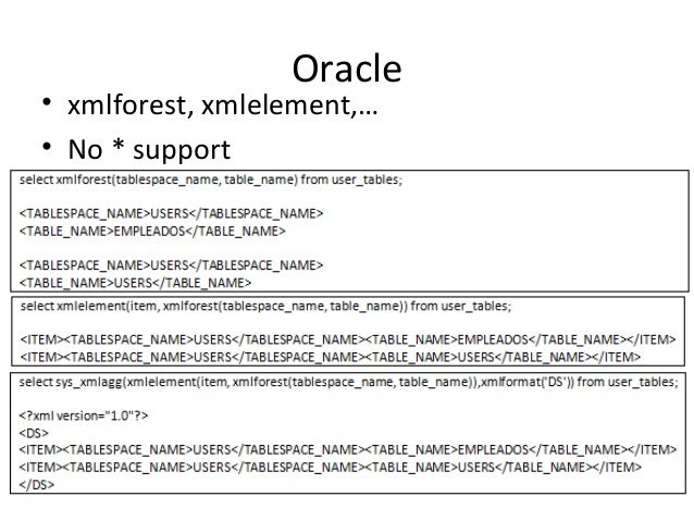 Oracle • xmlforest, xmlelement,… • No * support