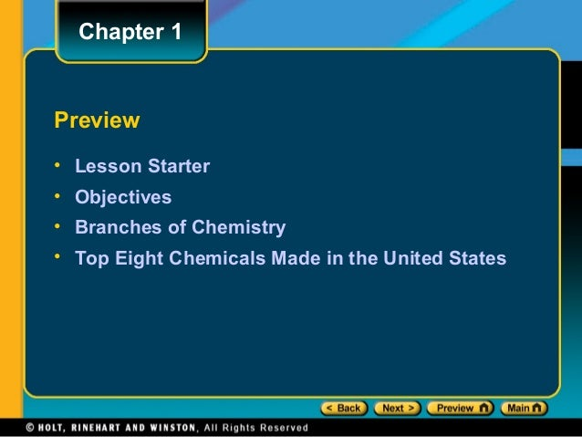 Chapter 1Preview• Lesson Starter• Objectives• Branches of Chemistry• Top Eight Chemicals Made in the United States